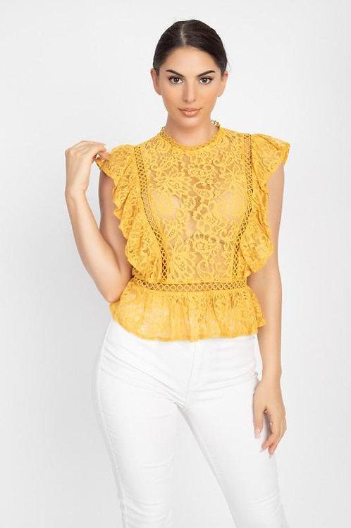 Crochet Lace Ruffle Top  ID:JVT50071