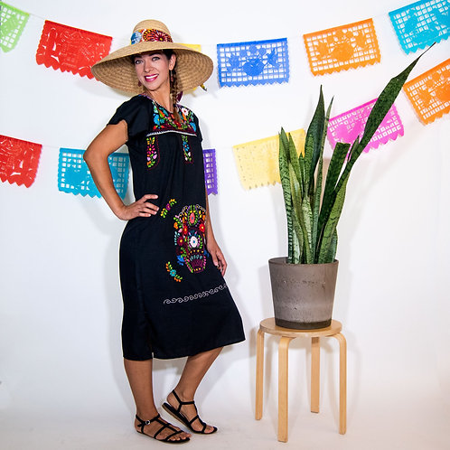 Black Mexican Chanel-Style Dress with Multicolored Flowers. Below the