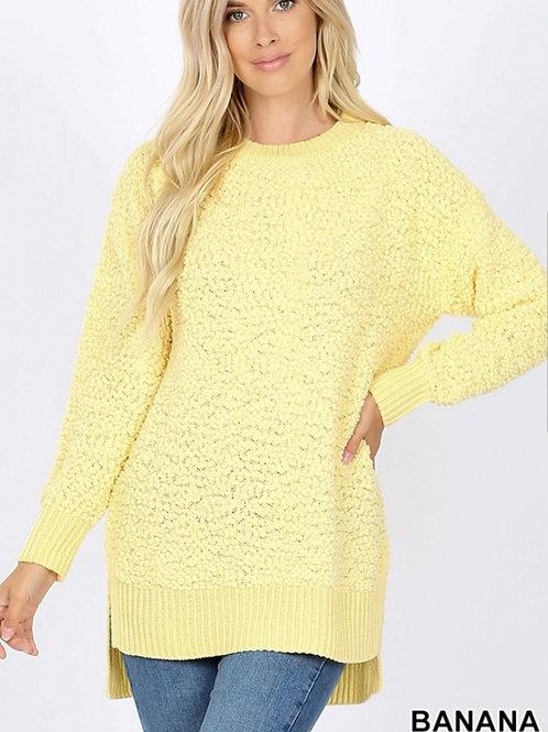 Melody popcorn tunic sweater (Coral & Banana)