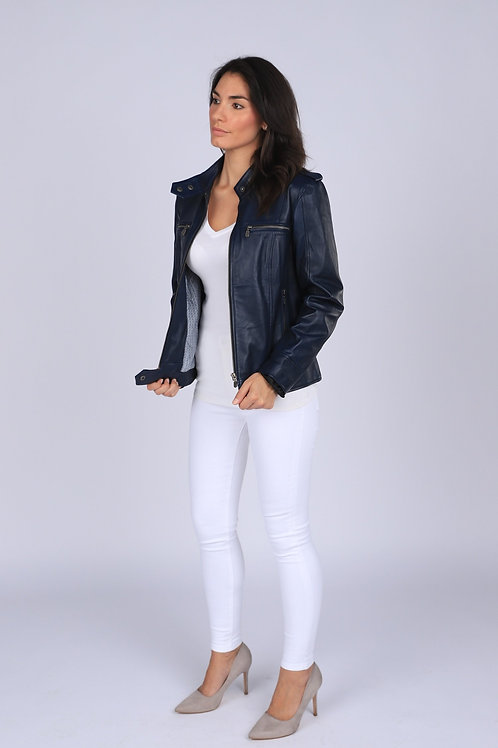 Faya Womens Leather Jacket Midnight