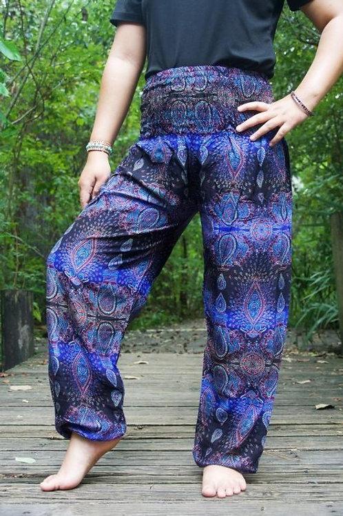 Blue PAISLEY Women Boho Pants Hippie Pants Yoga Pants