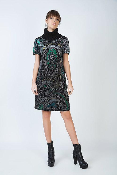 Turtleneck a Line Print Dress