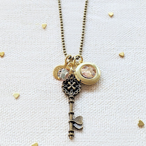 "ADJUSTABLE ""ONE MIND"" VINTAGE KEY & BALL CHAIN LOCKET NECKLACE (LONG)"