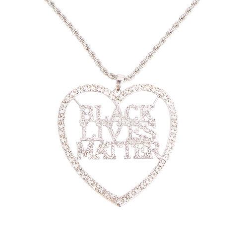 BLACK LIVES MATTER Heart Silver Necklace
