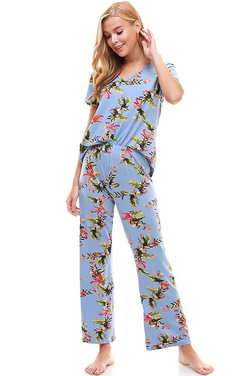 Loungewear set for women's floral short sleeve and pants