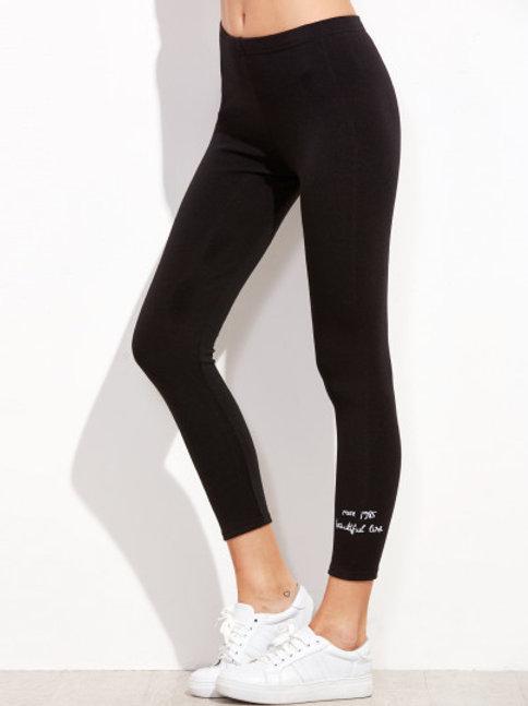 Black Letter Embroidered Hem Leggings