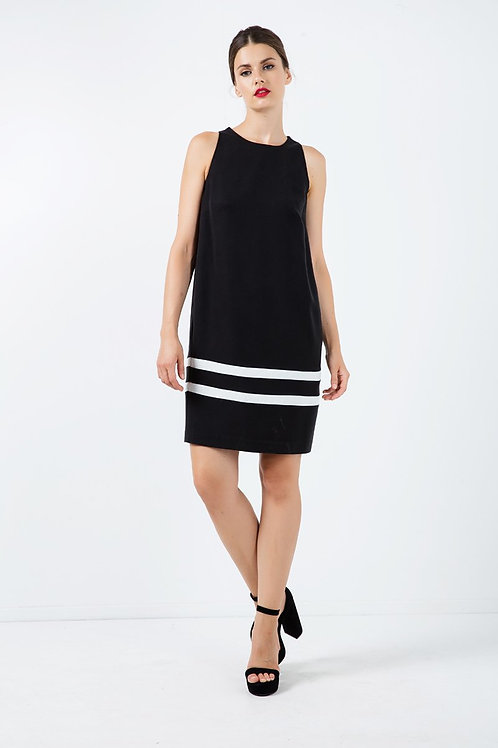 Black Sleeveless Dress With White Stripe Detail