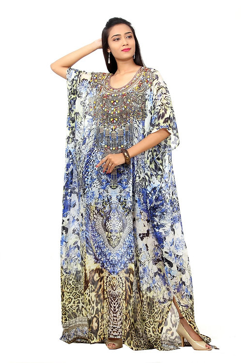 Fusion of Animal and Porcelain Print Silk Party Wear Kaftan With Flowers