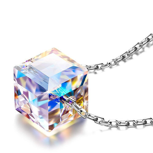 Sterling Silver Aurora Borealis Cubed Life Necklace with Swarovski