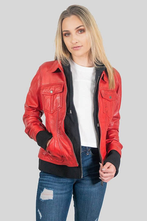 Annalise Womens Leather Jacket Red