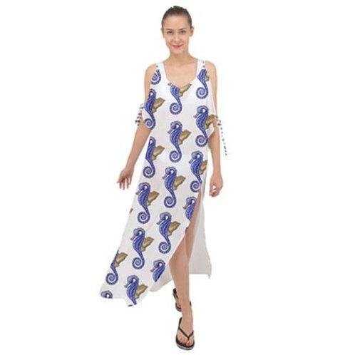 Chiffon Maxi Dress Cover Up Seahorse Pattern