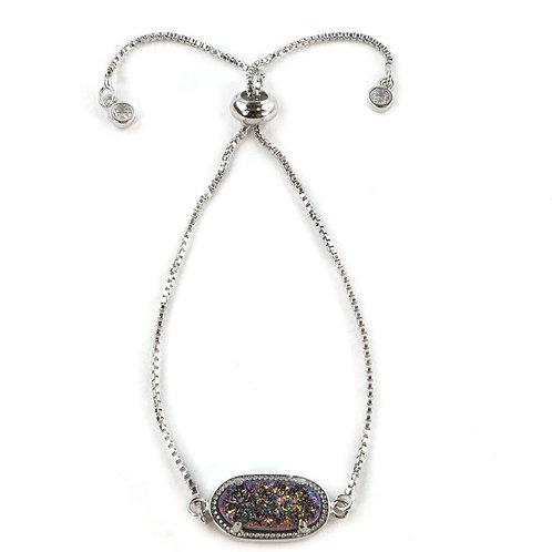 Alicia Oval Bracelet Druzy in Silver