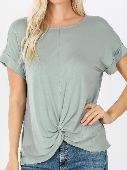 All knotted up short sleeve top in light green