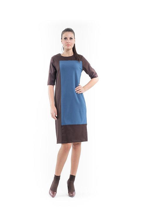 Contrast Fabric Shift Dress Petrol