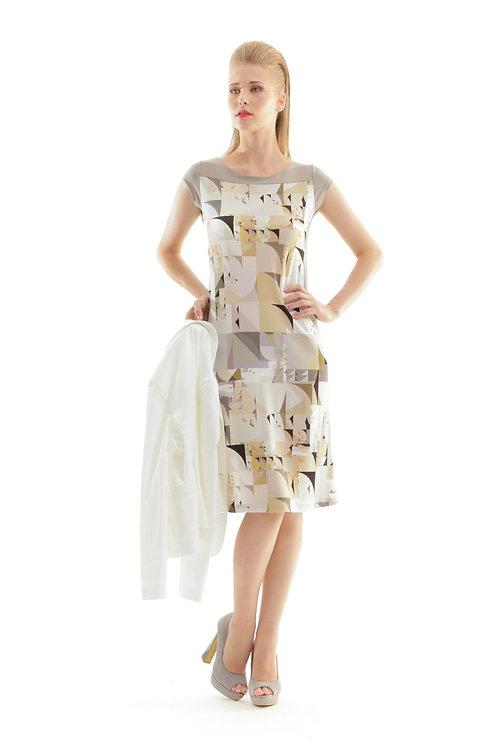 A Line Geometric Print Dress