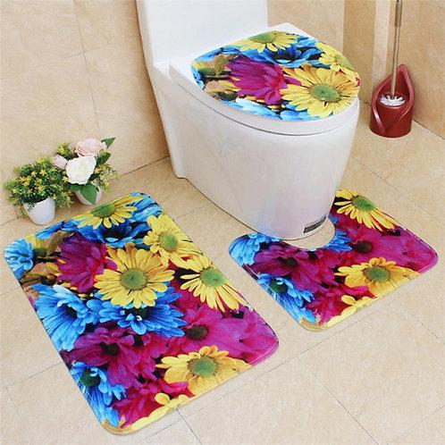 3pcs set Big Flower colorful bathroom Carpet mat