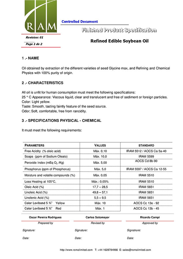 Soybean oil specifications