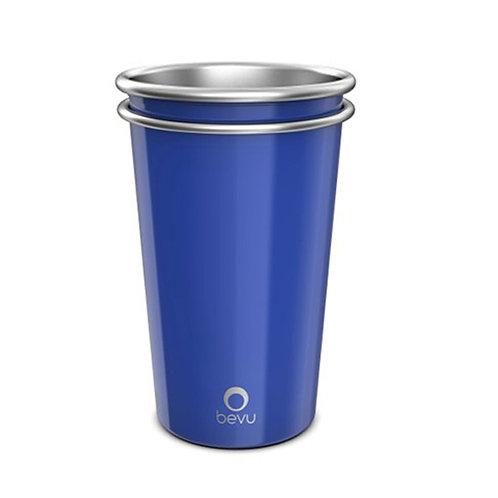 Bevu® FIESTA Steel Cups (2) Cobalt 470ml / 16oz.