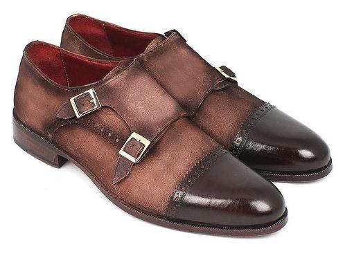 Paul Parkman Men's Double Monkstrap Captoe Dress Shoes - Brown / Beige Suede Upp