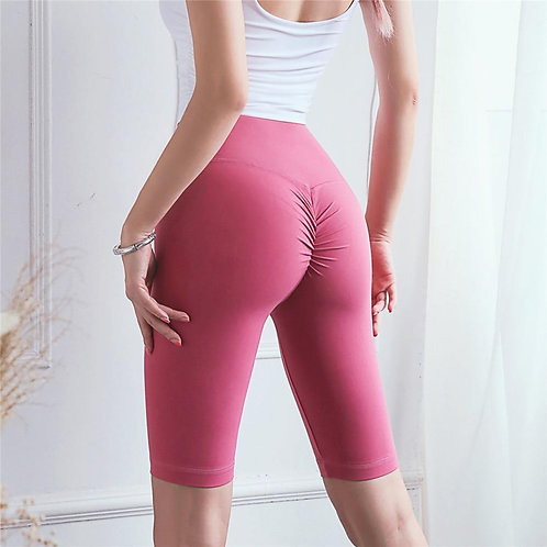 Nuls Skin-Friendly Fitness Shorts Hot Chrysanthemum High Waist Tight