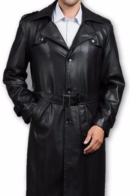 Mens Executive Premio 3 Button Trench Leather Coat