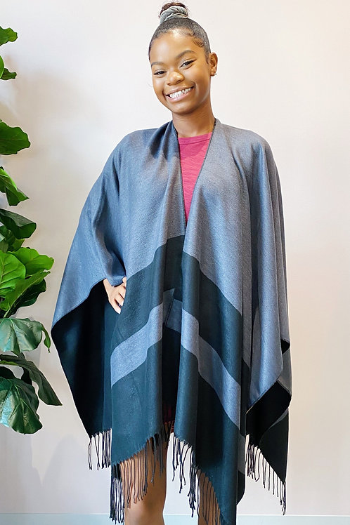 Bold Style Ruana in Black/Charcoal