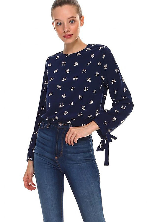 Bow Print Tue Sleeve Blouse