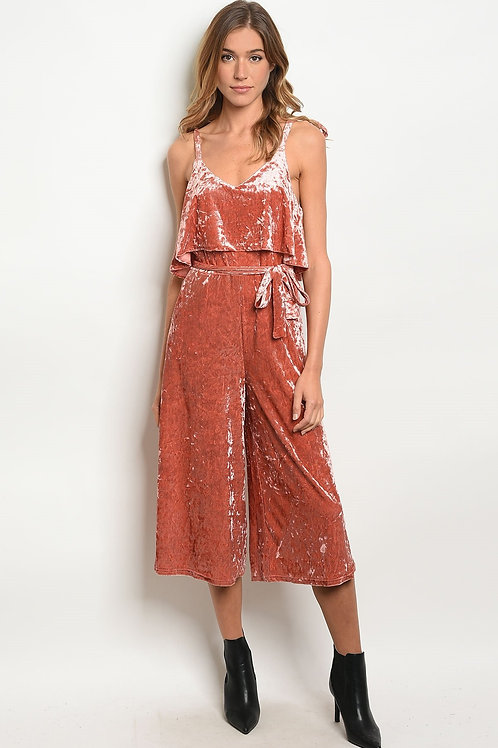 Womens Rust Velvet Jumpsuit