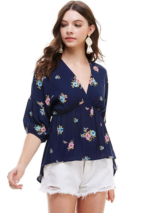 Ditsy Floral Dolman Long Sleeve V Neck Blouse