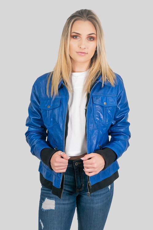 Annalise Womens Leather Jacket Blue