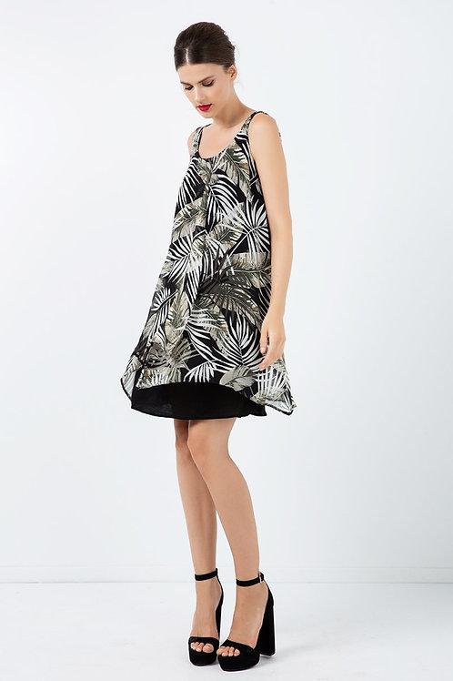 Sleeveless Print Chiffon Dress With Layers