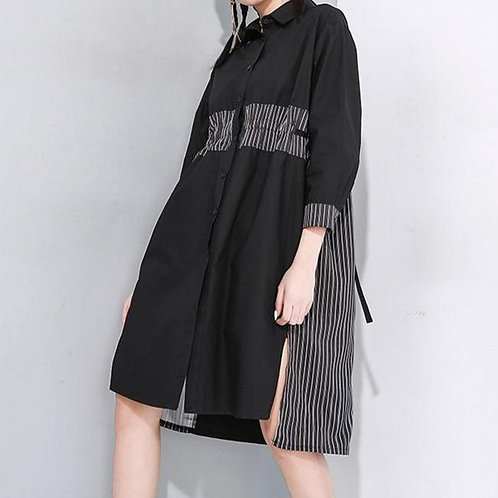 Aiya Split Long Sleeve Shirt Dress