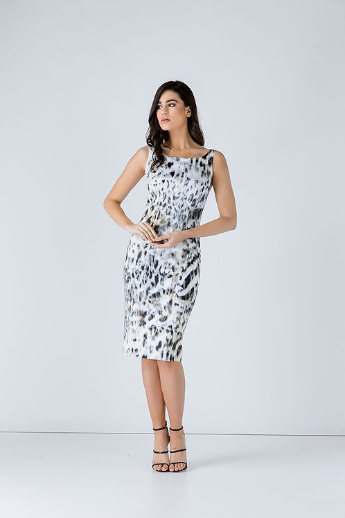 Animal Print Zip Detail Dress