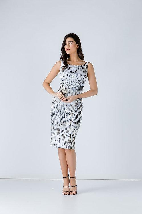 Animal Print Zip Detail Dress