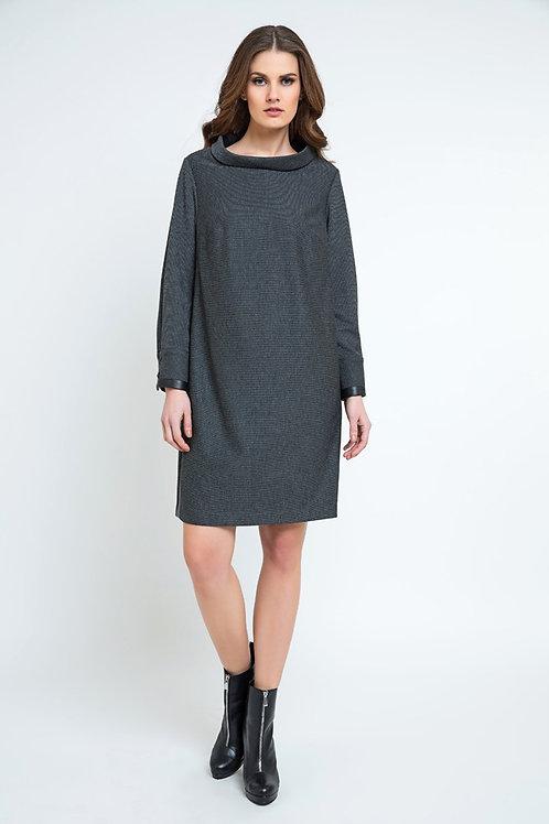Casual H-Line Stand Collar Long Sleeve Midi Dress