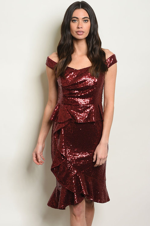 Burgandy With Sequins Dress