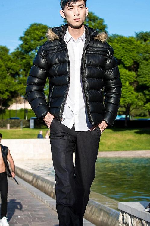 Men's Crimson Black Puffer Winter Down Leather Jacket with Fur