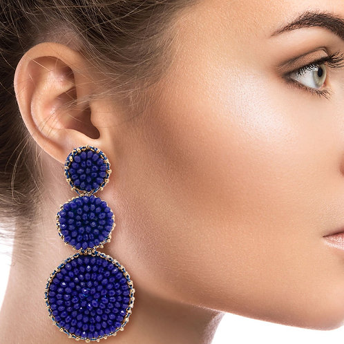 Blue Bead Graduated Earrings