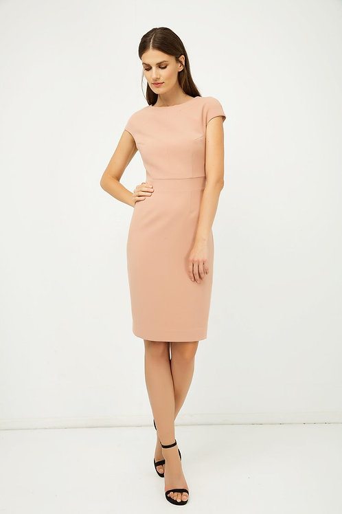 Solid Colour Dress With Cap Sleeves Old Rose Color.