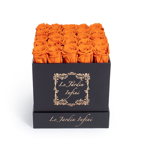 Orange Preserved Roses - Medium Square Black Box