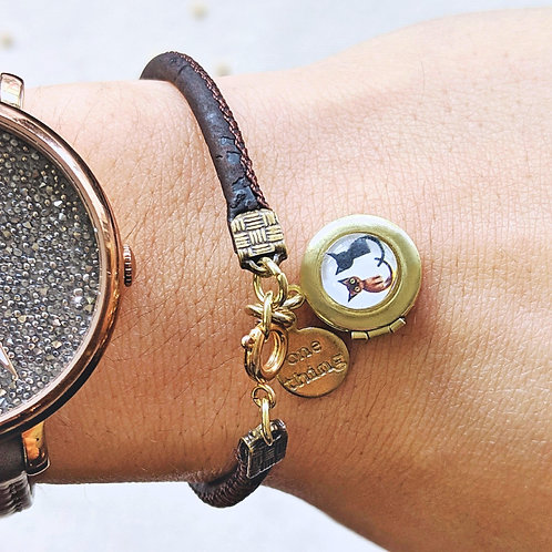 "KIDS! - ""TWO CATS"" LOCKET BRACELET ON CORK (VEGAN)"
