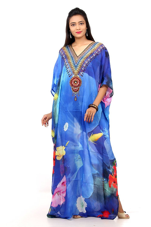 Silk Kaftan With a Spiral of Aromatic and Colourful Flowers and Embellished