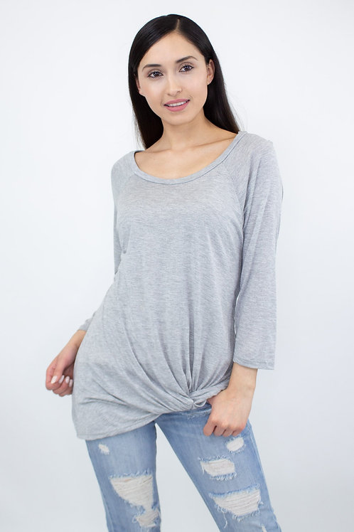 Twisted Front Comfortable Top - Heather grey