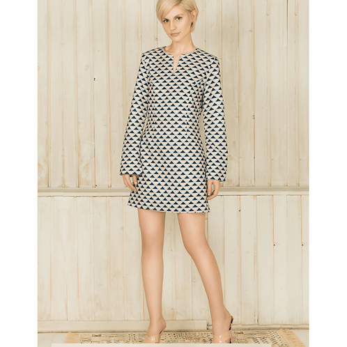 A-Line Mini Dress With Geometric Motifs