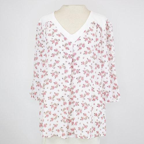 V-Neck 3/4 Sleeve Floral Print Blouse - Ivory