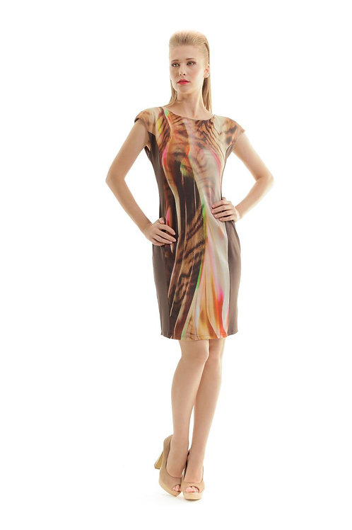Abstract Print Dress in Brown