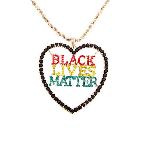 BLACK LIVES MATTER Heart Multi Necklace