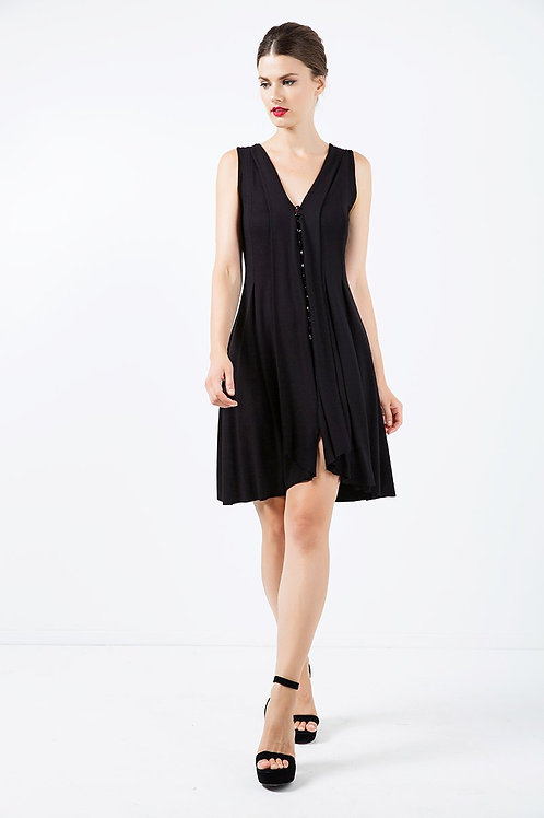 A Line Sleeveless Black Jersey Dress