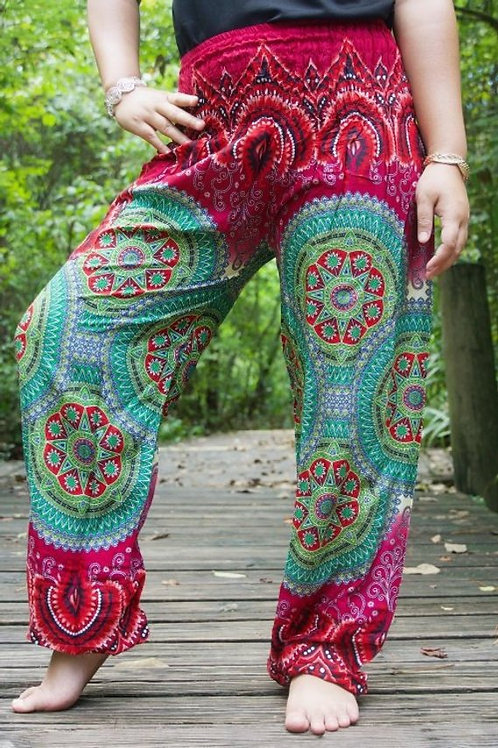 Burgundy GEOMETRIC Women Boho Pants Hippie Pants Yoga Pants