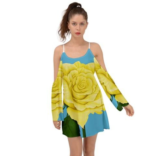 Yellow Aqua Rose Kimono Sleeves Womens Boho Dress